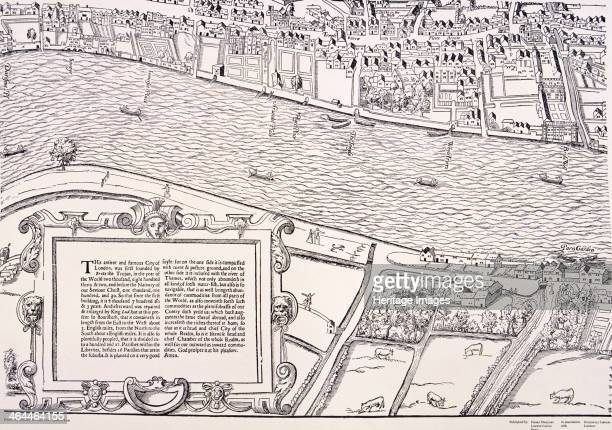 'Agas' map of London c1561 sheet 6 showing Temple Fleet Street River Thames and part of the south bank with cattle grazing in fields