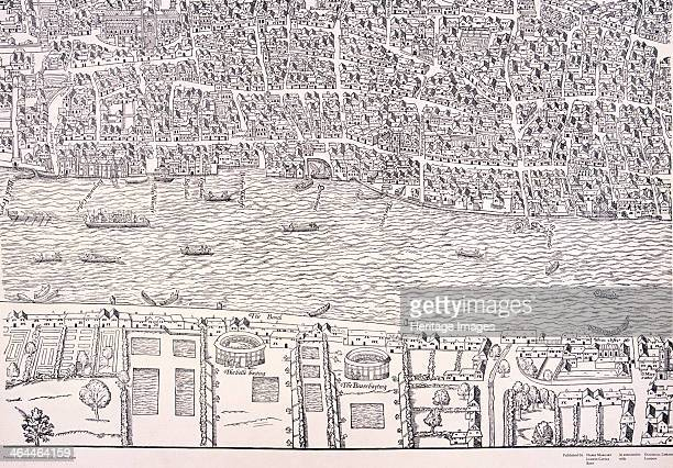 'Agas' map of London c1561 sheet 8 showing the bull baiting pit and bear baiting garden in Southwark Also showing the River Thames and City of London