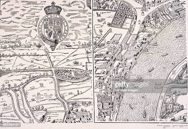 'Agas' map of London sheet 4 showing the Palace of Westminster St James's Park Charing Cross River Thames and Lambeth