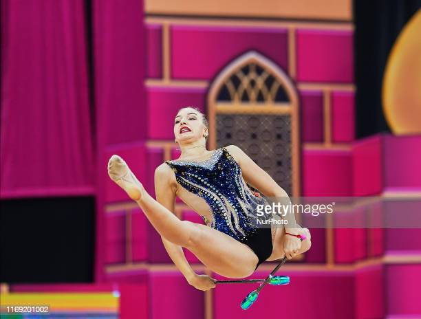 Agata Bykovskaia of Kirgistan during the 37th Rhythmic Gymnastics World Championships at the National Gymnastics Arena in Baku, Azerbaijan on...