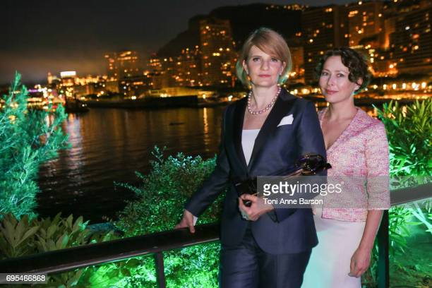Agata Gotova poses with Natalya Kaspersky CEO of InfoWatch who received award for 'EY Entrepreneur of the Year' for Russia on June 10 2017 at the...