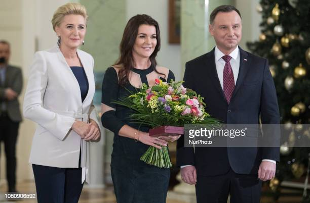 Agata Kornhauser-Duda, Agnieszka Radwanska, Andrzej Duda, attend during an award ceremony of the Order of Polonia RestitutaIn in Warsaw, Poland, on...