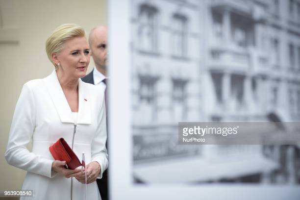 Agata Kornhauser-Duda is seen at an open air exhibtion of photographs of Polish history during Flag Day celebrations in Warsaw, Poland on May 2,...