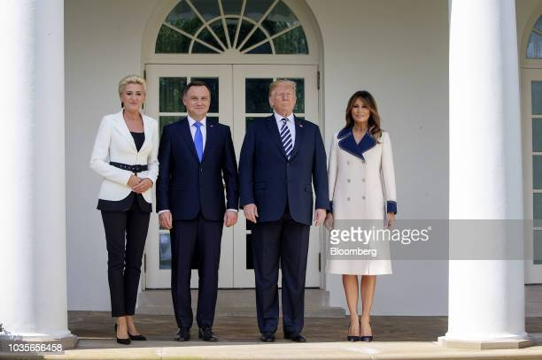Agata KornhauserDuda Poland's first lady from left Andrzej Duda Poland's president US President Donald Trump and First Lady Melania Trump stand for...