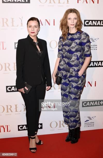 Agata Kulesza and Agata Buzek attend Orly 2017 award gala on March 20 2017 at Teatr Polski in Warsaw Poland Orly an annual award from Polish Film...