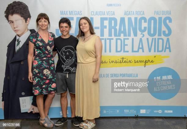 Agata Roca Max Megias and Claudia Vega attend a photocall for JeanFrancois el Sentit de la Vida at the Instituto Frances de Barcelona on July 3 2018...