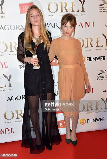 Agata Trzebuchowska and Zofia Wichlacz attend the 2015 Orly Awards on March 2, 2015 at Polski Theatre in Warsaw, Poland. The annual awards, which are...