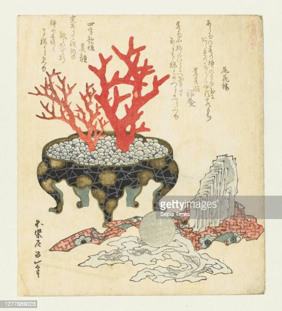 Agate Menôseki A series with horses Umazukushi In a lacquer pot filled with small stones are two branches of red coral On the ground next to it a...