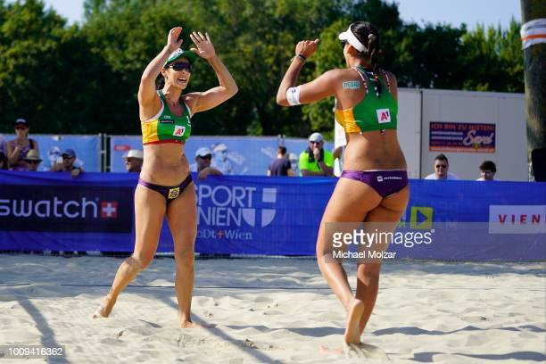 Agatha Bednarczuk of Brazil celebrates during the pool match between Eduarda Santos Lisboa and Agatha Bednarczuk of Brazil and Ekaterina Birlova and...