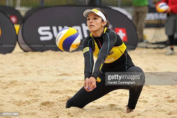 Agatha Bednarczuk of Brazil in action during the women main draw match LimaFernanda v SeixasAgatha as part of the fourth day of the FIVB Gstaad Grand...