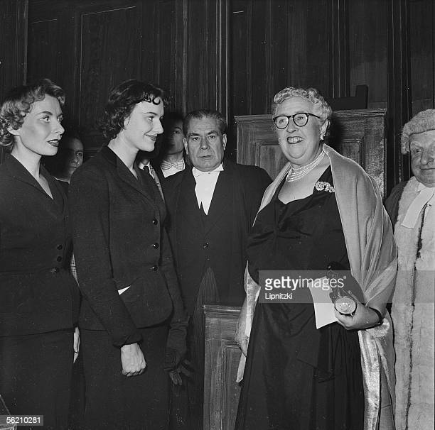 Agatha Christie English writer and the actors of his play Temoin a charge Odile Mallet and Henri Nassiet Paris theatre Edouard VII november 1955
