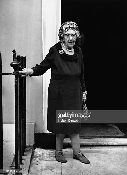 Agatha Christie the best selling detective novelist arrives at the party organised by Collins her publishers to celebrate the occassion of her 80th...