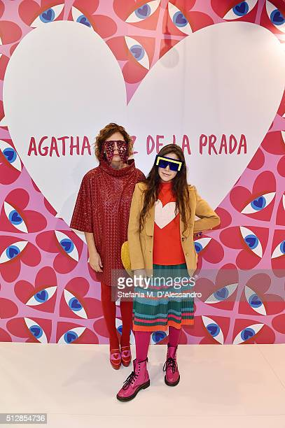 Agatha Ruiz de la Prada and her daughter Cosima attend MIDO 2016 the Milano Eyewear Show during Milan Fashion Week FW16 on February 27 2016 in Milan...