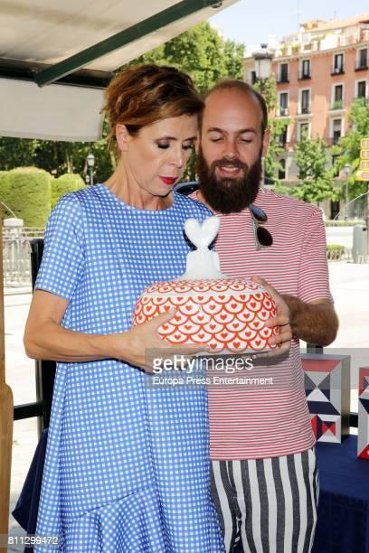Agatha Ruiz de la Prada and her son Tristan Ramirez de la Prada present the Sargadelos dinnerware set handmade by Agatha Ruiz de la Prada firm at...