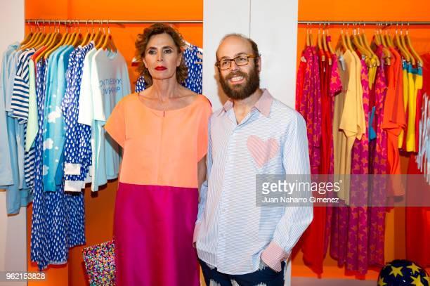 Agatha Ruiz de la Prada and Tristan Ramirez attend Alejandro Dron's Exhibition at Agatha Ruiz de la Prada store on May 24 2018 in Madrid Spain