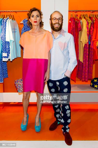 Agatha Ruiz de la Prada and Tristan Ramirez attend Alejandro Dron's Exhibition at Agatha Ruiz de la Prada store on May 24 2018 in Madrid Spain