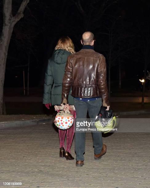 Agatha Ruiz de la Prada and Tristan Ruiz Ramirez attend Cristina de Borbon's funeral chapel on February 14 2020 in Madrid Spain