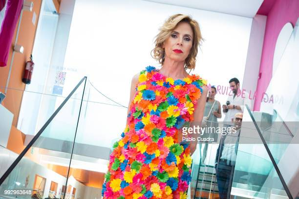 Agatha Ruiz de La Prada attends the Eduardo Perez Gonzalez Santos exhibition on July 6 2018 in Madrid Spain