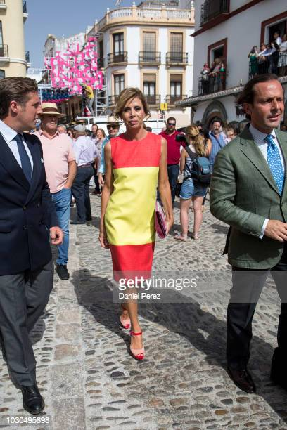 Agatha Ruiz de la Prada is seen arriving at La Goyesca bullfights on September 1 2018 in Ronda Spain
