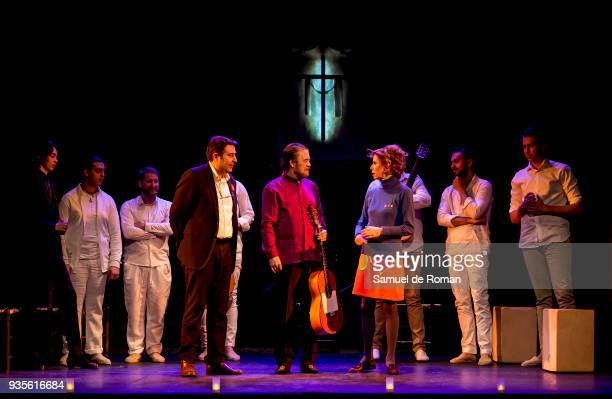Agatha Ruiz de la Prada Tito Losada and Javier Andrade present the flamenco show 'Misa flamenca Los gitanos cantan a Dios' on March 21 2018 in Madrid...