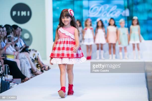 Agatha Ruiz de la Prada walks the runway after her fashion show during the FIMI Kids Fashion Week on June 22 2018 in Madrid Spain