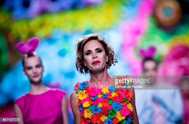 Agatha Ruiz de la Prada walks the runway at the Agatha Ruiz De La Prada show during the MercedesBenz Fashion Week Madrid Spring/Summer 2018 at Ifema...