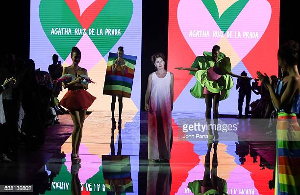 Agatha Ruiz De La Prada walks the runway during the Agatha Ruiz De La Prada show at Miami Fashion Week at Ice Palace on June 3 2016 in Miami Florida