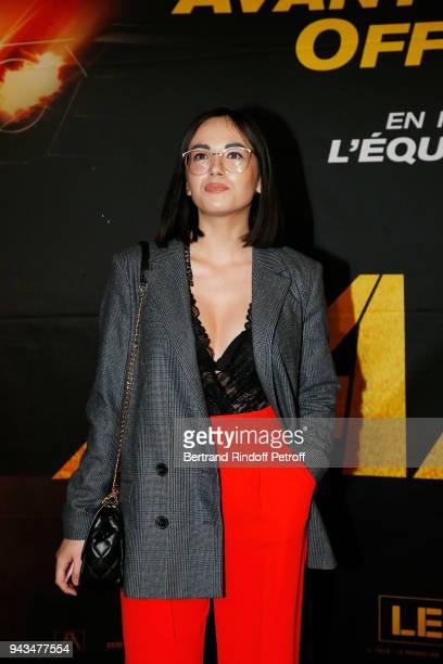 """Agathe Auproux attends """"Taxi 5"""" Paris Premierere at Le Grand Rex on April 8, 2018 in Paris, France."""