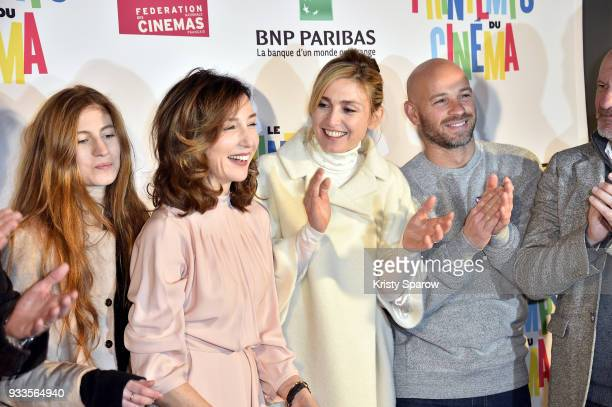Agathe Bonitzer Elsa Zylberstein Julie Gayet and Franck Gastambide celebrate the cutting of the ribbon commencing the 19th 'Le Printemps Du Cinema'...
