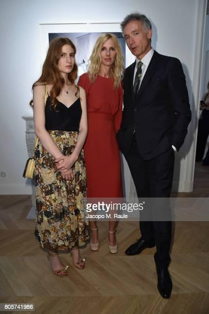 Agathe Bonitzer Sandrine Kiberlain and Geoffroy de la Bourdonnaye attend Guy Bourdin inaugural exhibition and unveiling of Maison Chloe as part of...