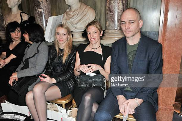 Agathe Chapman, Tiphaine Chapman and Dinos Chapman at the Antonio Berardi Show at London Fashion Week Autumn/Winter 2011 at on February 20, 2011 in...