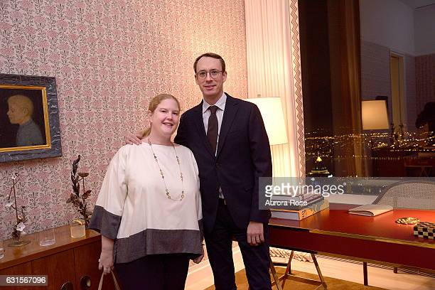 Agathe DavidWeill Mordacq and Pierre Mordacq attend An Evening with Robert Couturier and Friends at 432 Park Avenue on January 11 2017 in New York...