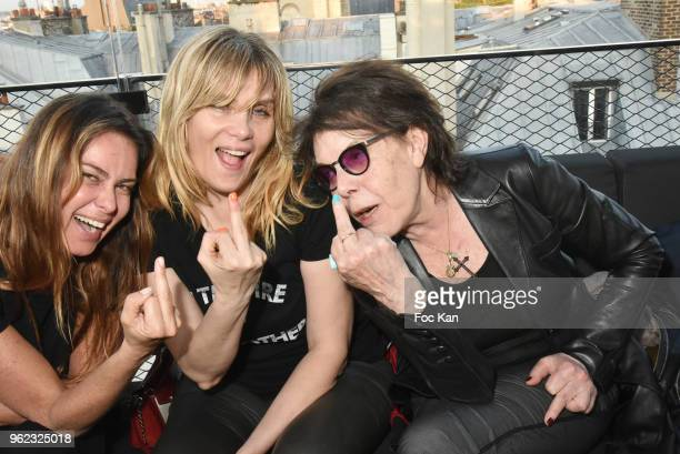 Agathe de la Fontaine actress Emmanuelle Seigner and singer Dani attend Tribute To Hubert Boukobza Boss of Les Bains Douches Club during the Nineties...