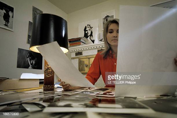 Agathe Gaillard As 'Marianne' And Jean Philippe Charbonnier En novembre 1968 Agathe GAILLARD dans un bureau décoré de photos aux murs attablée devant...