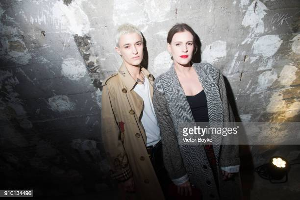 Agathe Mougin and Juliette Dol attend the 'Here We Are' Burberry Exhibition as part of Paris Fashion Week on January 24 2018 in Paris France