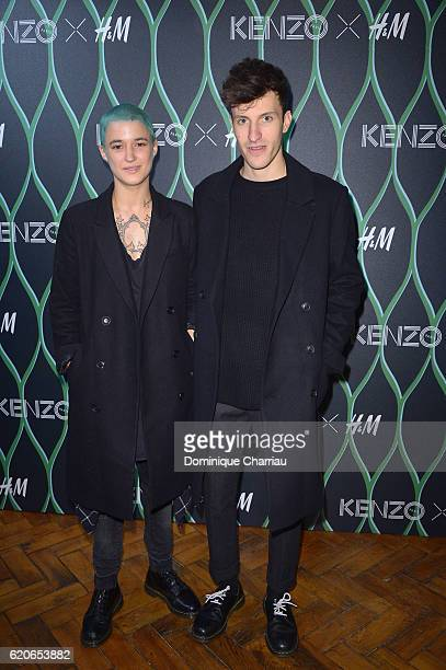 Agathe Mougin and Vladimir attend the KENZO x HM Paris Launch Party at Hotel De Brossier on November 2 2016 in Paris France