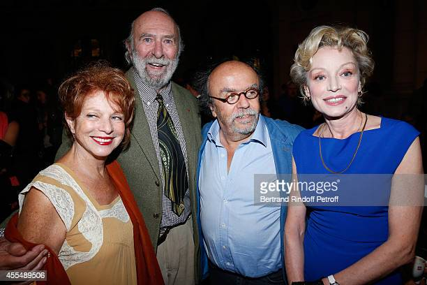 Agathe Natanson her husband actor JeanPierre Marielle Director of Theatre du rond Point JeanMichel Ribes and actress Caroline Silhol attend 'Un diner...