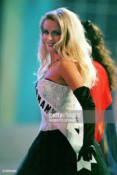 Agathe Neuner of Germany participates in the initial dance of the 1997 Miss Universe Pageant at the Miami Beach Convention Center in Miami Beach...