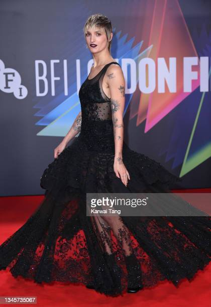 """Agathe Rousselle attends the """"Titane"""" UK Premiere during the 65th BFI London Film Festival at The Royal Festival Hall on October 09, 2021 in London,..."""