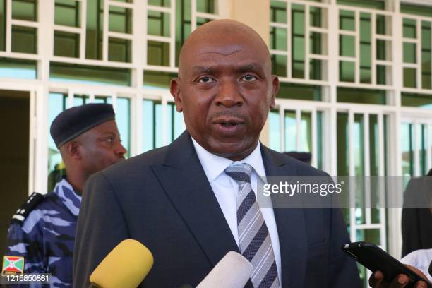 Agathon Rwasa, presidential candidate of Burundi's main opposition party the National Congress for Liberty , speaks to media after filing a petition...