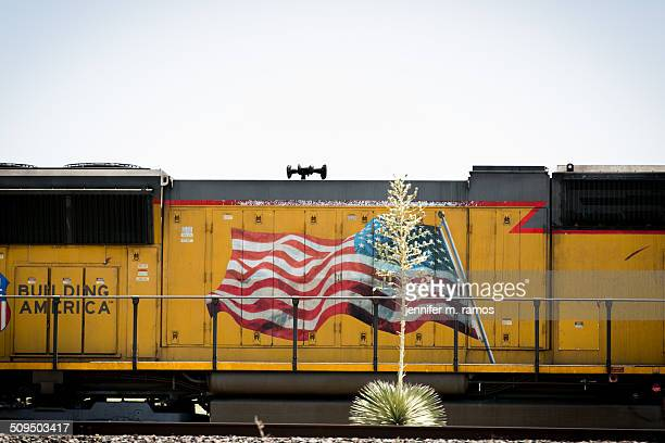 Agave plant in front of a train with a flag waving