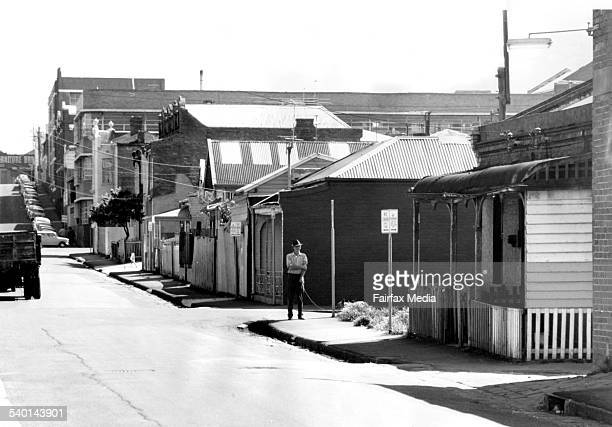 Australia Cities and Towns Vic Fitzroy Date filed 6th October 1969 Neg no G18109a Caption Old houses in Perry Street where else can they play Pic to...