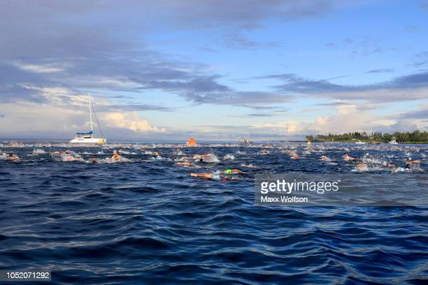 Age group swimmers compete during the IRONMAN World Championships brought to you by Amazon on October 13 2018 in Kailua Kona Hawaii