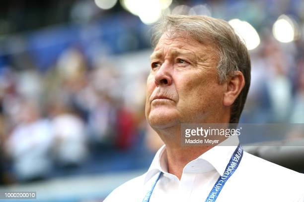 Age Hareide Coach of Denmark during the 2018 FIFA World Cup Russia group C match between Denmark and Australia at Samara Arena on June 21 2018 in...