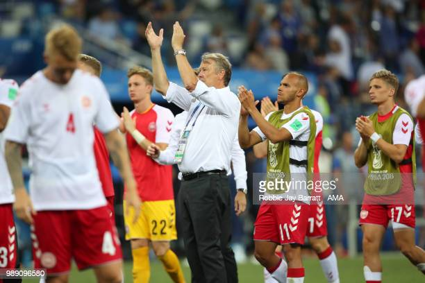 Age Hareide head coach / manager of Denmark applauds the fans after his team lost a penalty shootout during the 2018 FIFA World Cup Russia Round of...