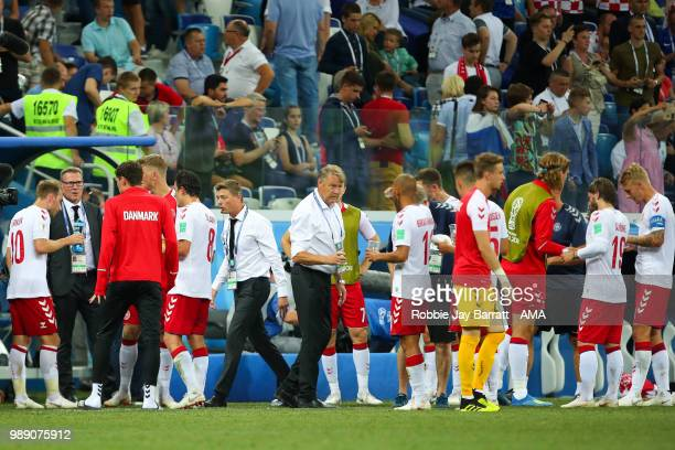 Age Hareide head coach / manager of Denmark encourages his players at the end of 90 minutes prior to extra time during the 2018 FIFA World Cup Russia...