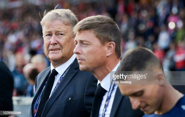 Age Hareide head coach of Denmark and Jon Dahl Tomasson assistant coach of Denmark prior to the UEFA Nations League match between Denmark and Wales...