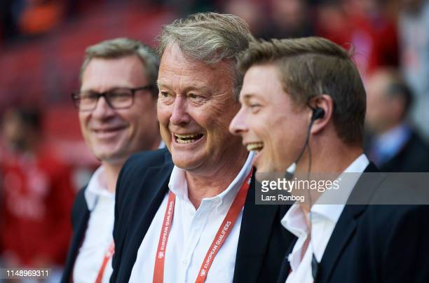 Age Hareide head coach of Denmark and Jon Dahl Tomasson assistant coach of Denmark smiling prior to the UEFA Euro 2020 Qualifier match between...