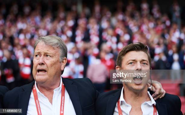 Age Hareide head coach of Denmark and Jon Dahl Tomasson assistant coach of Denmark during the national anthems prior to the UEFA Euro 2020 Qualifier...