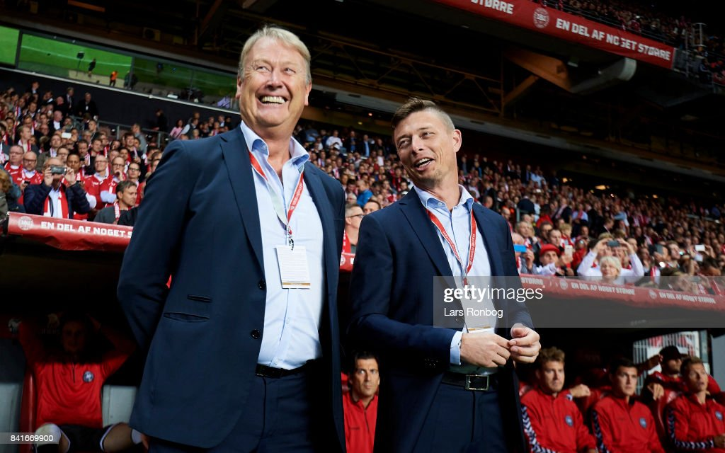 Age Hareide, head coach of Denmark and Jon Dahl Tomasson, assistant coach of Denmark prior to the FIFA World Cup 2018 qualifier match between Denmark and Poland at Telia Parken Stadium on September 1, 2017 in Copenhagen, Denmark.